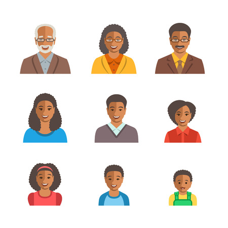 African American family happy faces. Vector flat avatars. Black people all ages generation simple icons. Mother, father, adult, teen, little kids portraits. Young, senior men, women, boys, girls, baby