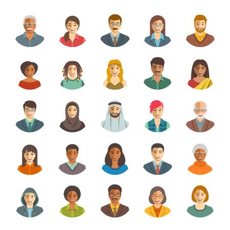 Les gens face icônes avatars de vecteur. portraits de couleurs plates des hommes et des femmes heureuses, jeunes et seniors. Caucasien, africaine, asiatique, ethnicité arabe. Les personnages avec des modes de vie différents, les coiffures, les vêtements