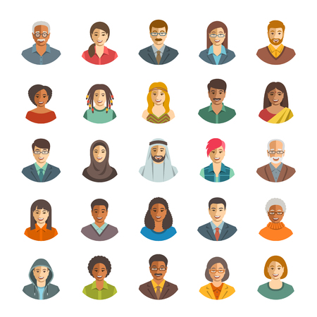 People faces avatars vector icons. Flat color portraits of happy men and women, young and senior. Caucasian, African, Asian, Arab ethnicity. Characters with different lifestyles, hairstyles, clothes Ilustração