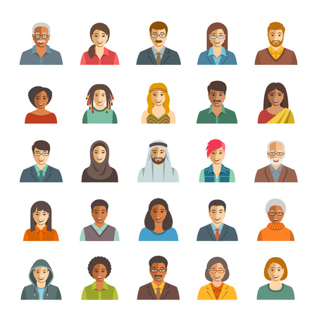 ethnicity happy: People faces avatars vector icons. Flat color portraits of happy men and women, young and senior. Caucasian, African, Asian, Arab ethnicity. Characters with different lifestyles, hairstyles, clothes Illustration