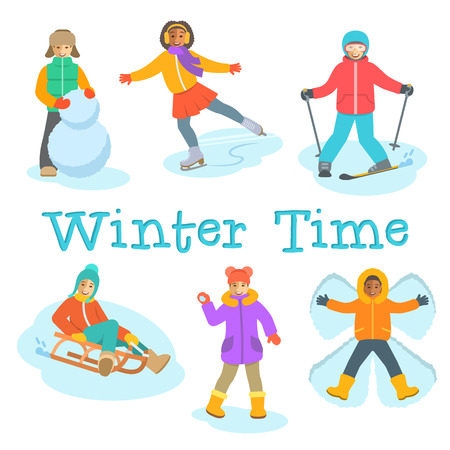 snow sled: Kids winter activities. Children in warm clothes play outdoor games on Christmas holidays. Boy makes snowman, snow angel, skiing, girl skating on ice, playing snowballs, slides on sled. Vector cartoon