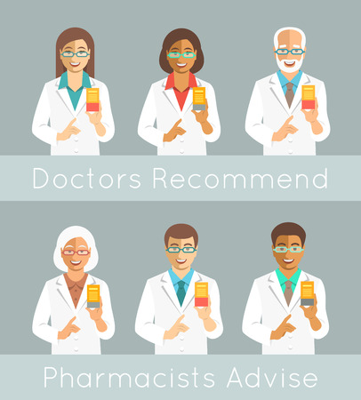 druggist: Pharmacists holding a box with medicine in hand and points finger at it. Different medical specialists promote drug. Caucasian and black men and women, young and senior. Doctors advice recommendation