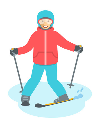 child boy: Child figure skiing vector flat illustration. Teen boy or girl coming down the slope on skis. Kids winter activities. Child in ski suit playing winter sport on Christmas holidays. Moving cartoon character. Isolated on white