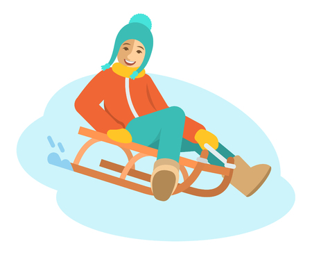 sledging: Girl sledding flat vector illustration. A child goes down the slope on a sled. Kids winter activities. Child in casual warm clothes playing winter games on Christmas holidays. Moving cartoon character. Isolated on white