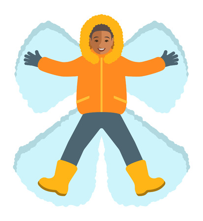 child boy: African boy in winter clothes making a snow angel. Top view. Kids winter activities. Child playing outdoor game on Christmas holidays. Lying cartoon character. Isolated on white