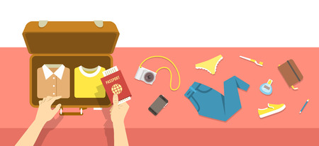 ready: Packing bag for traveling. Travel vacation vector flat illustration. Tourist woman puts in suitcase clothes, shoes, phone, perfume, notebook, toothbrush, camera and passport. Top view retro banner