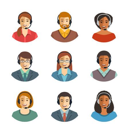 Appelez les agents du centre avatars plats. opérateurs en direct de chat, les gars et les filles visages souriants. soutien à la clientèle en ligne assistants de service avec un casque. Help desk du Caucase, d'Afrique, d'Asie consultants