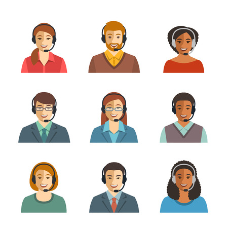headset: Call center agents flat avatars. Live chat operators, guys and girls smiling faces. Online customer support service assistants with headphones. Help desk Caucasian, African, Asian consultants