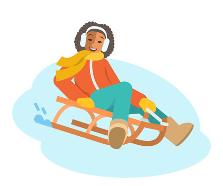 sledging: African girl sledding flat vector illustration. A child goes down the slope on a sled. Kids winter activities. Child in warm clothes playing snow winter games on Christmas holidays. Cartoon character