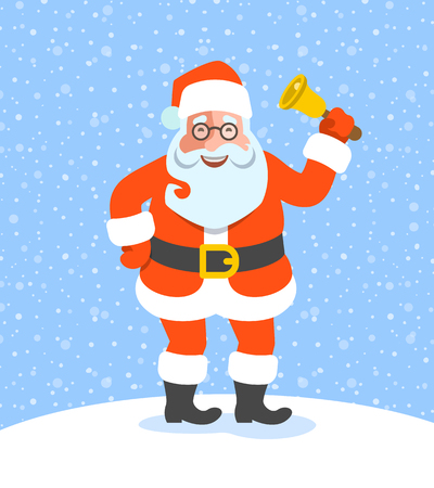 jingle bell: Santa Claus stands and rings jingle bell. Vector cartoon illustration. Cute Christmas character pose. Snow background. Greeting card design Illustration