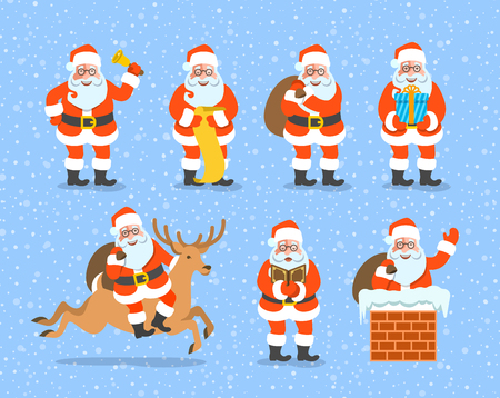 cartoon present: Santa Claus cartoon vector illustration. Cute Christmas character poses collection. Santa rings a bell, reads a list, carries a bag with gifts, gives a present, rides on deer, sings, climbs a chimney
