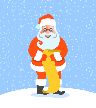 Santa Claus reads Naughty or Nice Kids List. Cartoon vector illustration. Cute character pose. Snow day background. Greeting card design Illustration