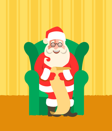 Santa Claus sits in a chair and reads Naughty or Nice Kids List. Cartoon vector illustration. Cute character design. Home interior background. Greeting card design Illustration