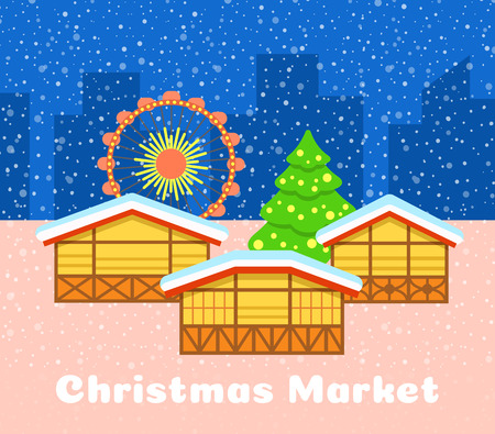 openair: Christmas market vector background. Festive fair illustration. Street stalls, Christmas tree and observation wheel. Urban snowy evening landscape. Traditional celebration of winter holidays