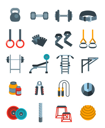 objects equipment: Weightlifting flat vector icons set. Bodybuilding exercises equipment pictograms. Weight lifting training objects. Powerlifting gym workout elements. Healthy lifestyle and physical activity symbols