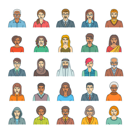 asian ethnicity: People faces avatars linear vector icons. Flat line portraits of men and women, young and senior. Caucasian, African, Asian, Arab ethnicity. Characters with different lifestyles, hairstyles, clothes