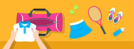 Fitness flat vector background. Woman puts tennis stuff for training into sport bag. Top view horizontal banner. Polo shirt, skirt, sneakers, tennis racket and balls. Healthy lifestyle concept. Illustration