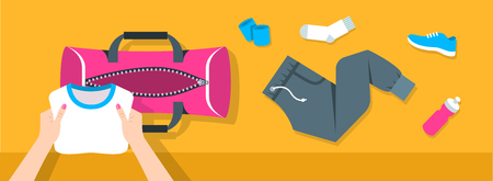 sport clothes: Fitness flat vector background. Woman puts stuff for gym physical training into sport bag. Top view horizontal banner. Workout clothes and shoes, water bottle. Healthy lifestyle concept. Simple design