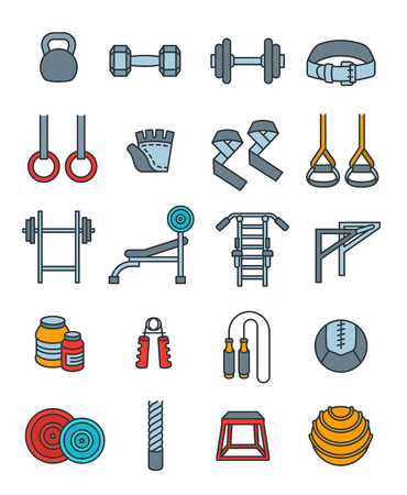 gym workout: Weightlifting flat thin line vector icons set. Bodybuilding exercises equipment pictograms. Weight lifting training objects. Powerlifting gym workout elements. Healthy lifestyle and physical activity