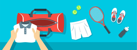 Fitness flat vector background. Man puts tennis stuff for training into sport bag. Top view horizontal banner. Polo shirt, shorts, sneakers, tennis racket and balls. Healthy lifestyle concept. Vectores