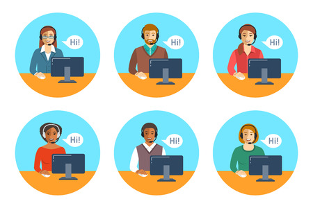 computers online: Call center agents team. Flat vector round icons. Customer care operators, guys and girls with smiling faces sitting at desks with computers. Online support service assistants with headphones