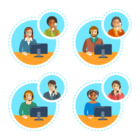 operators: Call center agents team talking on the phone with customers. Flat vector banners. Customer care operators. Online technical support service assistants with headphones.