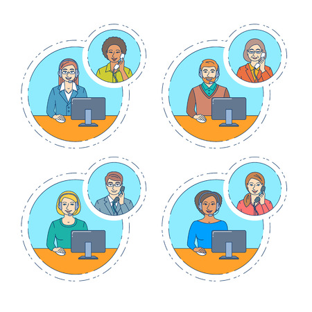 customer support: Call center agents team talking on the phone with customers. Flat thin line vector banners. Customer care operators. Online technical support service assistants with headphones. Modern outline style
