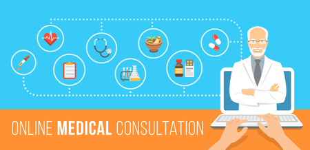 Health care online consultation flat conceptual banner. Medical assistance by internet. Senior male doctor consultant gives information about medicines. Patient uses computer for online diagnostics Illustration