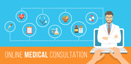 computer banner: Health care online consultation flat conceptual banner. Medical assistance by internet. Male doctor consultant gives information about medicines. Patient uses computer for online diagnostics