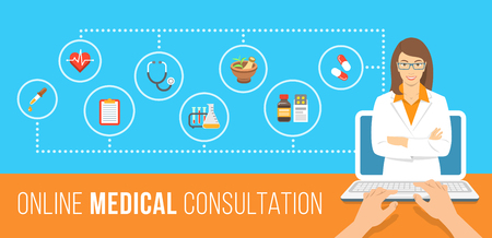 care about the health: Health care online consultation flat conceptual banner. Medical assistance by internet. Female doctor consultant gives information about medicines. Patient uses computer for online diagnostics