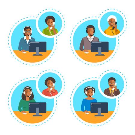 Call center agenten team praten aan de telefoon met klanten. Platte vector banners. Afro-Amerikaanse operators van klantenservice. Online technische ondersteuningsdienstassistenten met hoofdtelefoons.