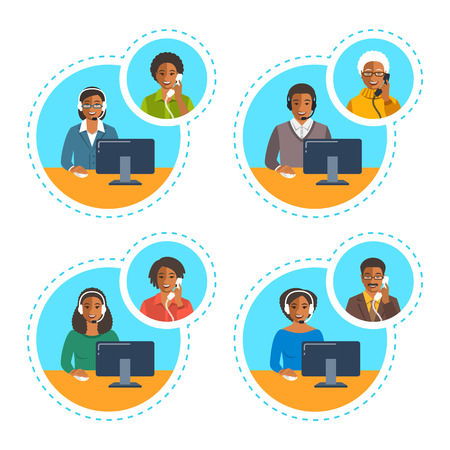 phone and call: Call center agents team talking on the phone with customers. Flat vector banners. African American customer care operators. Online technical support service assistants with headphones.
