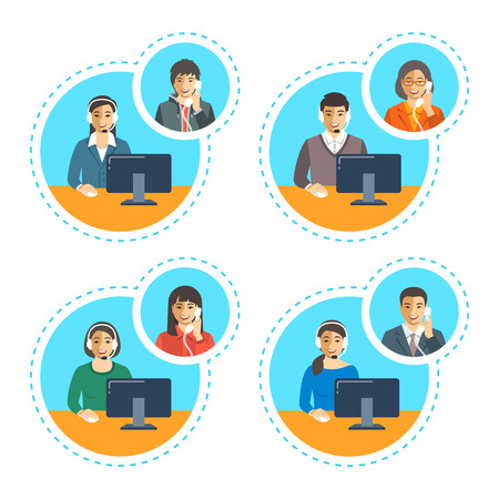 customer support: Asian call center agents team talking on the phone with customers. Flat vector banners. Customer care operators. Online technical support service assistants with headphones.