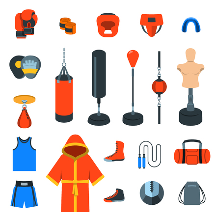 arts symbols: Boxing flat design vector colorful icons. Boxer training equipment symbols. Sport workout tools, protection, clothes and shoes. Martial arts elements