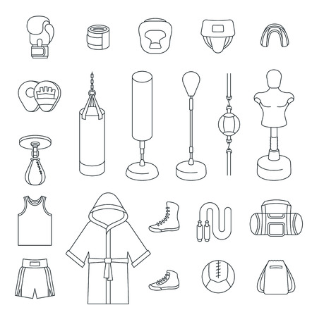 Creative design of a colorful boxing flat design vector thin line icons. Boxer training equipment outline symbols. Illustration