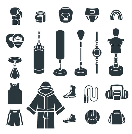 arts symbols: Creative design of a colorful  flat design vector silhouettes icons. Boxer training equipment symbols. Sport workout tools, protection, clothes and shoes. Martial arts elements