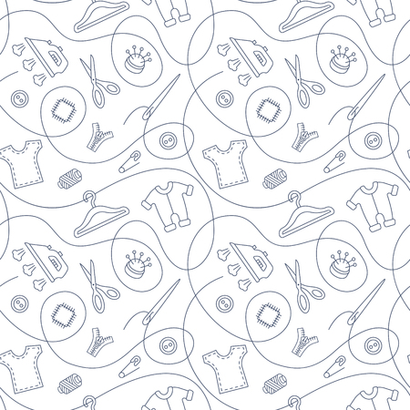Thin line vector seamless pattern with sewing tools linear icons scattered on white background. Outline seamstress supplies for tailoring and needlework. Handmade kids clothes wrapping paper design.