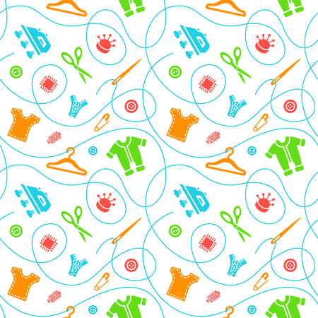 Vector seamless pattern with sewing tools flat icons scattered on white background. Seamstress supplies for tailoring and needlework. Handmade kids clothes wrapping paper design.