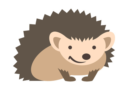 Cute smiling small prickly hedgehog baby. Vector kids cartoon illustration. Pet zoo animal icon. Isolated on white. Forest fauna childish character. Simple flat design element