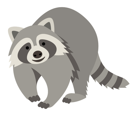 Cute smiling raccoon vector cartoon illustration. Wild zoo animal icon. Fluffy adorable pet looking straight. Isolated on white. Forest fauna childish character. Simple flat design element for kids Illustration