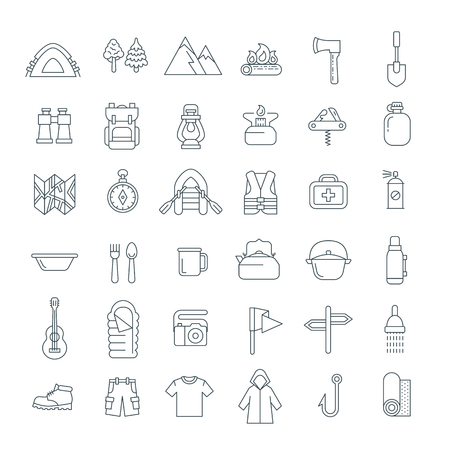 objects equipment: Summer camping thin line icons. Vector flat outline graphics. Outdoor recreational activity. Hiking tourism tools, clothes, objects. Wild nature travel. Forest camp equipment. Mountain exploring Illustration