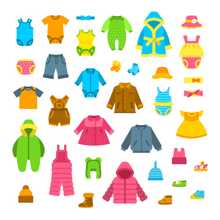 warm shirt: Baby clothes vector illustrations set. Newborn kid outfit flat icons. Little girl and boy clothing cartoon elements. Child fashion collection. Garments for all seasons. Apparel, underwear, hats, shoes