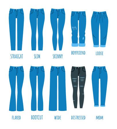 Colección de estilos de jeans de mujer. Pantalones femeninos de moda de jeans. Modelos de moda de pantalones de algodón para niña moderna. Iconos de vector plano.