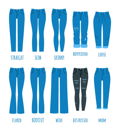Women jeans styles collection. Denim fashion female pants. Trendy models of cotton trousers for modern girl. Flat vector icons.