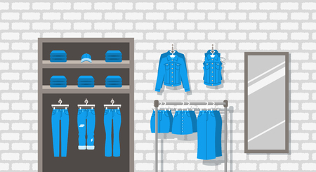 jeanswear: Jeans clothes shop indoor interior. Flat vector pattern. Women casual outfit store. Denim garments hanging on hanger rack. Cotton pants lie on shelves. Large mirror on a brick wall