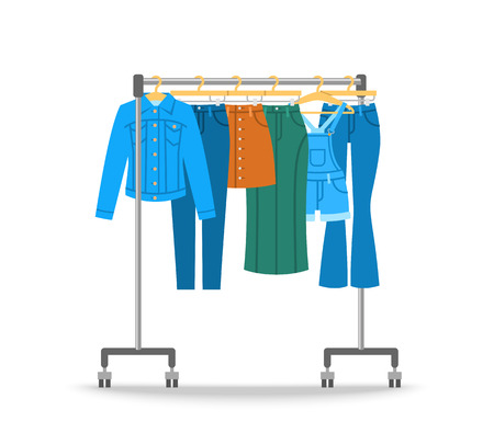 jeanswear: Women jean clothes hanging on hanger rack with rolling wheels. Vector flat illustration. New cotton collection. Trendy season wear. Jeans, jacket, skirts and jumpsuit shorts for stylish girl wardrobe.
