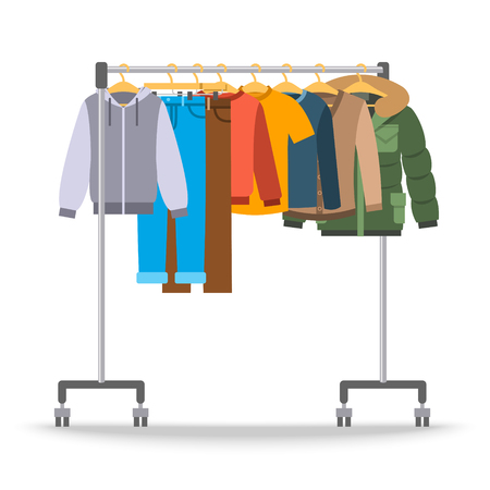 Men casual warm clothes on hanger rack. Flat style vector illustration. Male apparel hanging on shop rolling display stand. Winter and autumn outfit new fashion collection. Seasonal sale concept Vettoriali