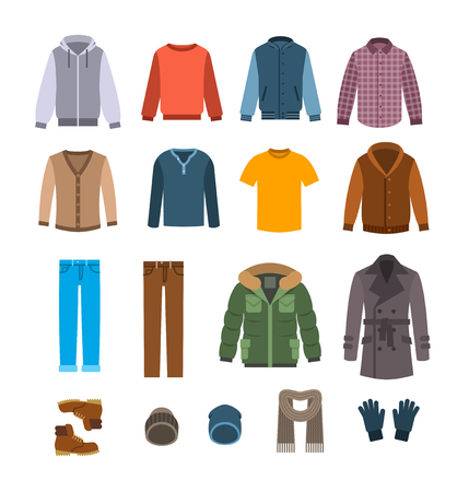 Warm clothes for men. Winter collection of modern male casual outfit. Vector flat illustration. Fashion style icons. Cold season garments. Wardrobe graphic elements
