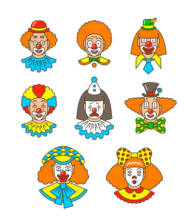 Clown faces different thin line avatars. Colorful vector flat linear icons. Cartoon illustration. Circus men and girl smiling outline portraits with different makeup, hair and hats