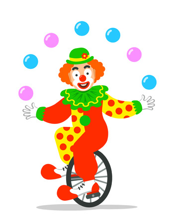Funny circus clown juggling balls on unicycle. Vector cartoon illustration. Isolated on white